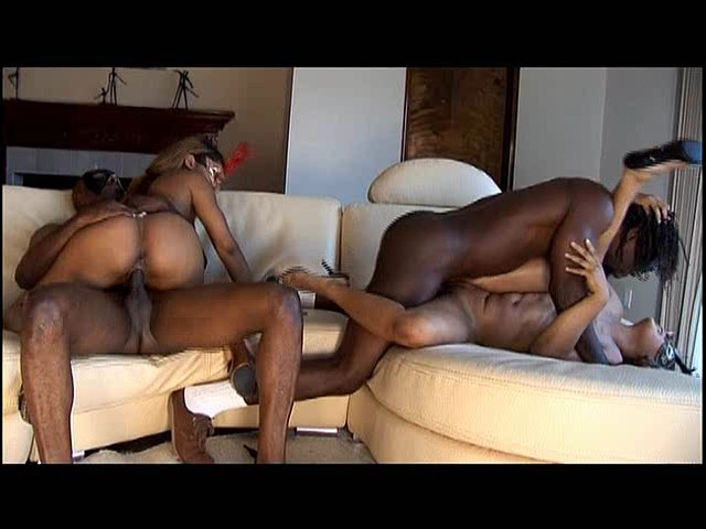 PLAY: Ebony babes Alayah Sashu and Diamond Star get their pussies plugged in this hot groupsex scene