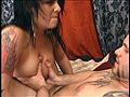 PLAY: Tatted up hottie Juice takes a warm load on her face