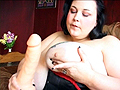 PLAY: Exotic BBW beauty Shereja Rage rubs her big tits and fucks herself
