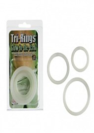 Tri Rings Glow In The Dark Cock Ring Set White (118989)
