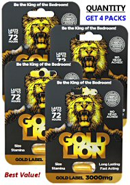 Gold Lion Erection Pills (4 Pills) - Gold Label 12,000mg Total (140911.857)
