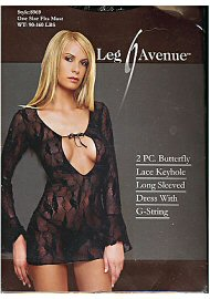 2pc. Butterfly Lace Keyhole Long Sleeved Dress Wtih G-String (72270)