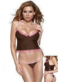 Microfibre Underwire Cami & Thong Brown/pink Med (85623)